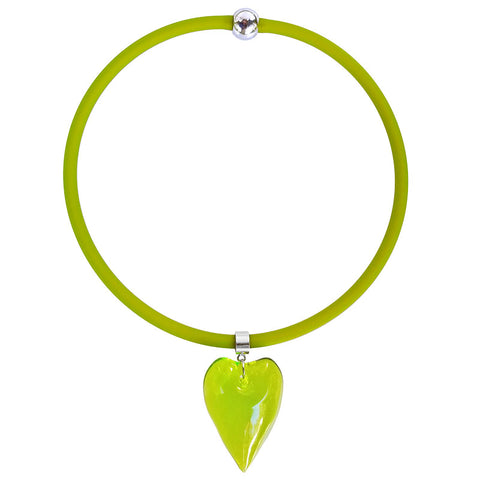 CUORE HEART • Murano Glass Necklace • PERIDOT olive