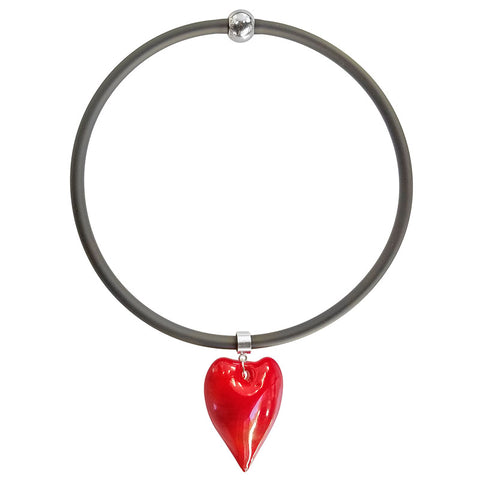 CUORE HEART • Murano Glass Necklace • RED black