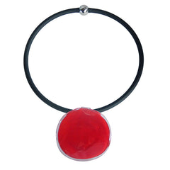 DISCO 2 CHERRY red two-tone modern art to wear murano glass statement necklace on rubber tubino cord, handmade in Italy