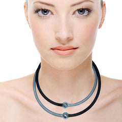 SPORTIVO NECKLACES • set/2 • BLACK • SILVER