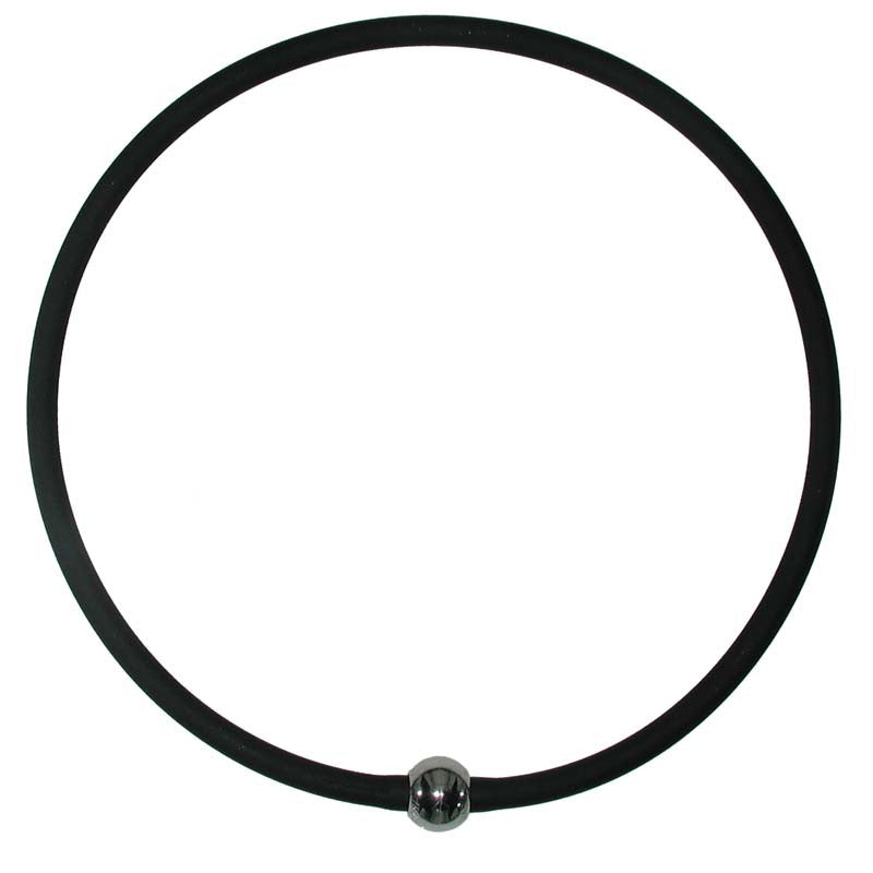 "TUBINO SPORTIVO BLACK matte linkable 18"" NECKLACE  luxurious hypoallergenic synthetic rubber with nickel-free metal link, Made in Italy"
