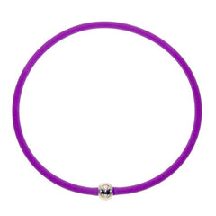 "TUBINO SPORTIVO PURPLE satin linkable 18"" NECKLACE  luxurious hypoallergenic synthetic rubber with nickel-free metal link, Made in Italy"