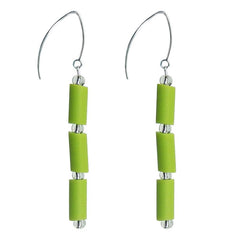 TUBINO LIME green earrings with sterling silver wires, handmade in Italy