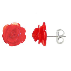 ROSA • ROSE murano glass stud earrings • CHERRY