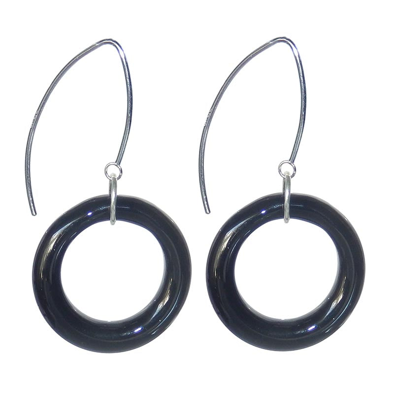 CIRCOLO BLACK Murano glass circle earrings with sterling silver wires, handmade in Italy