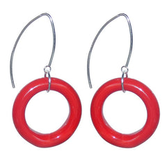 CIRCOLO RED Murano glass circle earrings with sterling silver wires, handmade in Italy