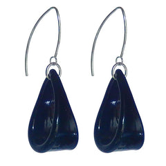 LOOP BLACK lightweight Murano glass earrings with sterling silver wires, handmade in Italy