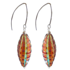 "VENEZIA MULTICOLOR frosted ""battuto"" lightweight olive-shaped blown Murano glass earrings with sterling silver wires, handmade in Italy"