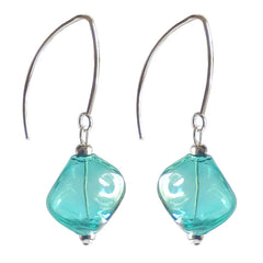SASSO SEAGREEN teal lightweight nugget-shaped blown Murano glass earrings with sterling silver wires, handmade in Italy