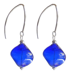 SASSO COBALT blue lightweight nugget-shaped blown Murano glass earrings with sterling silver wires, handmade in Italy