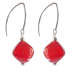 SASSO RUBY red lightweight nugget-shaped blown Murano glass earrings with sterling silver wires, handmade in Italy