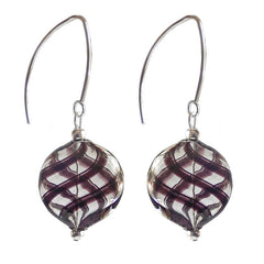 UNO BLACK PLAID lightweight round flat blown Murano glass earrings with sterling silver wires, handmade in Italy
