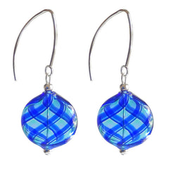 UNO BLUE PLAID lightweight round flat blown Murano glass earrings with sterling silver wires, handmade in Italy