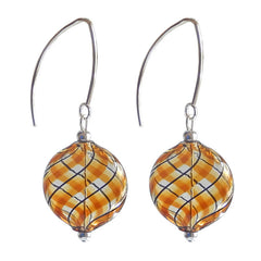 UNO AMBER PLAID lightweight round flat blown Murano glass earrings with sterling silver wires, handmade in Italy