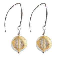 COIN CRYSTAL GOLD 24kt gold-leaf Murano glass earrings with sterling silver wires, handmade in Italy