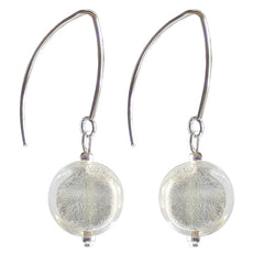 COIN CRYSTAL SILVER 925 silver-leaf Murano glass earrings with sterling silver wires, handmade in Italy