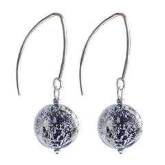 COIN BLACK SILVER 925 silver-leaf Murano glass earrings with sterling silver wires, handmade in Italy
