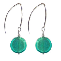 COIN SEAGREEN WHITE GOLD white gold-leaf Murano glass earrings with sterling silver wires, handmade in Italy