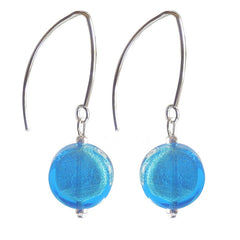 COIN AQUA WHITE GOLD white gold-leaf Murano glass earrings with sterling silver wires, handmade in Italy