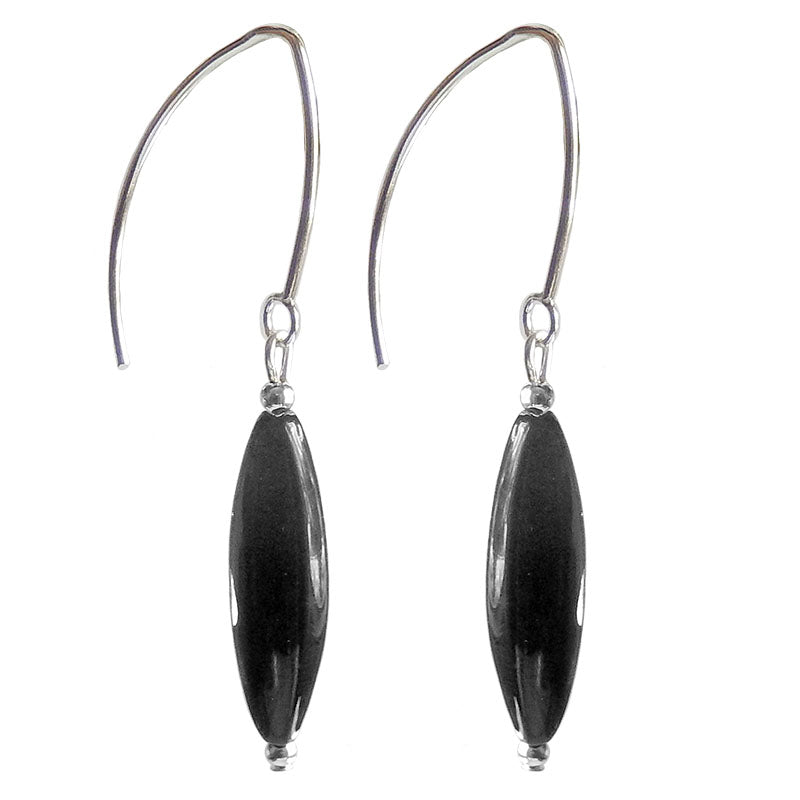 SLIM BLACK CRYSTAL 2-tone Murano glass earrings with sterling silver wires, handmade in Italy