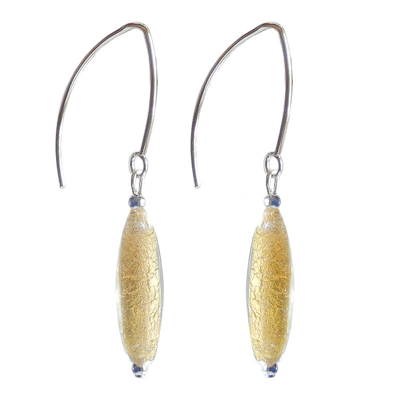 SLIM CRYSTAL GOLD 24kt gold-leaf Murano glass earrings with sterling silver wires, handmade in Italy