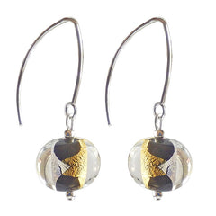 GLITTER BLACK art to wear modern 24kt gold leaf and silver leaf oval murano glass earrings, 925 sterling silver earwires, handmade in Italy