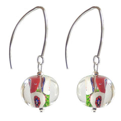 MILLEFIORI CRYSTAL multicolor oval-shaped Murano glass earrings with sterling silver wires, handmade in Italy