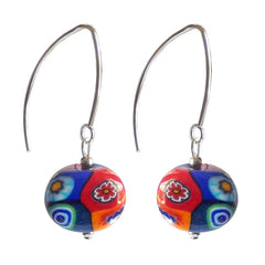 MILLEFIORI multicolor oval-shaped Murano glass earrings with sterling silver wires, handmade in Italy