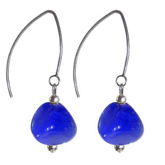 PEBBLE COBALT blue Murano glass 2-tone earrings with sterling silver wires, handmade in Italy