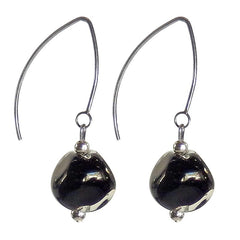 PEBBLE BLACK CRYSTAL Murano glass 2-tone earrings with sterling silver wires, handmade in Italy