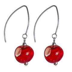 PEBBLE CHERRY red Murano glass 2-tone earrings with sterling silver wires, handmade in Italy