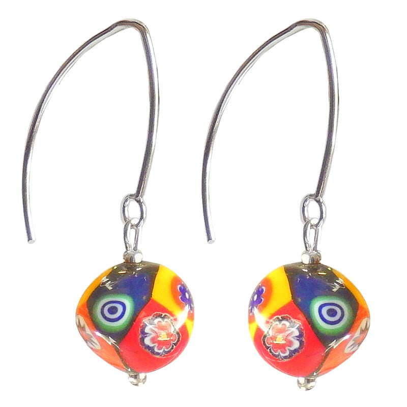 MILLEFIORI multicolor pebble-shaped Murano glass earrings with sterling silver wires, handmade in Italy