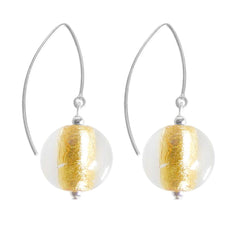 SPARKLE CRYSTAL GOLD art to wear modern 24kt gold leaf murano glass ball earrings with 925 sterling silver earwires, handmade in Italy