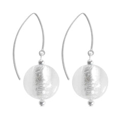 SPARKLE CRYSTAL SILVER art to wear modern silver leaf murano glass ball earrings with 925 sterling silver earwires, handmade in Italy
