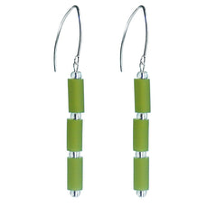 TUBINO OLIVE green earrings with sterling silver wires, handmade in Italy