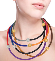 TUBINO SPARKLE linkable fashion NECKLACES luxurious hypoallergenic synthetic rubber with stainless steel link handmade gold-leaf and silver-leaf murano glass link, easily cut to size, Made in Italy