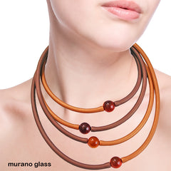 TUBINO NECKLACE • murano • COGNAC