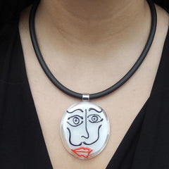 Model wearing black white SKETCH #2 Murano glass necklace inspired by DALI line drawings, handmade in Italy