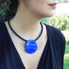 DISCO • murano glass necklace • LAPIS