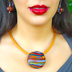 "VENEZIA2 MULTICOLOR multifaceted engraved millefiori blown glass ""battuto"" necklace modern art to wear murano glass reversible statement necklace on rubber tubino cord, handmade in Italy"