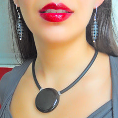 UNO BLACK modern classic art to wear blown murano glass statement necklace on rubber tubino cord, handmade in Italy