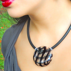 UNO BLACK PLAID modern classic art to wear blown murano glass statement necklace on rubber tubino cord, handmade in Italy