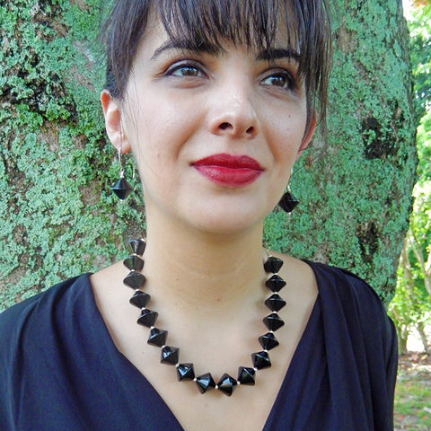 BICONO • murano glass necklace • BLACK