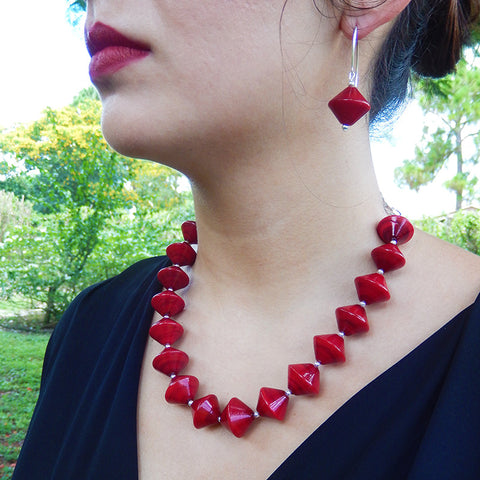 BICONO • murano glass necklace • RED