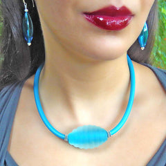 FROST frosted cut crystal AQUA turquoise blue modern art to wear murano glass statement necklace on rubber tubino cord, handmade in Italy
