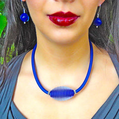 FROST frosted cut crystal COBALT blue modern art to wear murano glass statement necklace on rubber tubino cord, handmade in Italy
