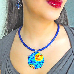 Model wearing starry night VINCENT #2 Murano glass necklace and VERONA blown glass blue earrings, handmade in Italy