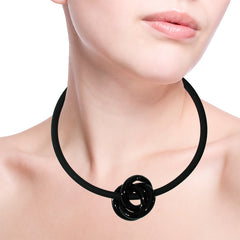 TRIO BLACK modern art to wear murano glass knot statement necklace on rubber tubino cord, handmade in Italy