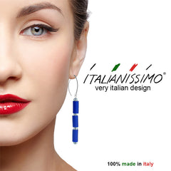TUBINO COBALT blue earrings with sterling silver wires, handmade in Italy
