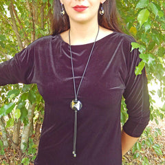 GLITTER BLACK lungo modern art to wear murano glass bolo lariat necklace with 24kt gold-leaf and 925 silver-leaf, handmade in Italy